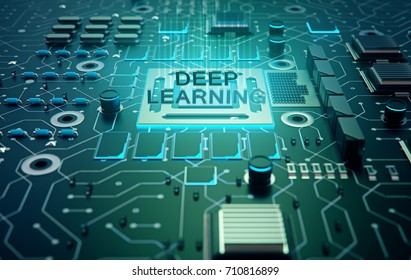 Deep structured learning - methods based on learning representations of data. programmer with abstract symbol of chip with text deep learning connected with data represented by points,3d rendering.