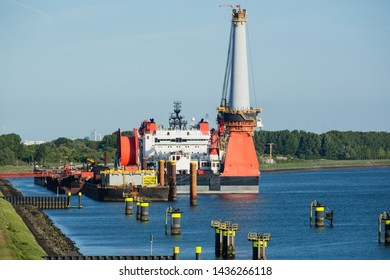 A deep water construction vessel or ship docked at the seaport of Rotterdam, The Netherlands.