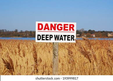 Deep Water warning sign, Hornsea Mere, East Yorkshire, UK