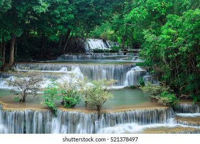 Deep waterfall in Huay Mae Kamin Kanjanaburi Thailand
