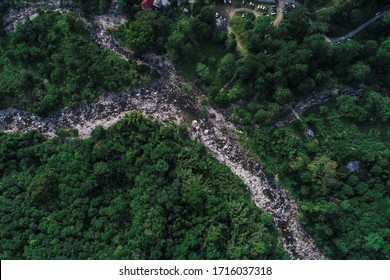 Deep waterfall river mountain green forest aerial view nature landscape