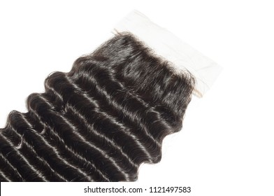 Deep wave curly black human hair weaves extensions lace closure
