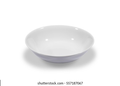 Deep white small soup plate on white background from side