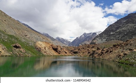 Deepak Taal Lake and Sign, natural clear water melting from snow on the way of Rohtang pass from Jispa to Keylong, Manali Highway in northern India