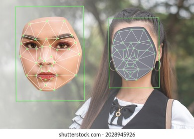 Deepfake concept matching facial movements with a different face of another woman in a photo. Face swapping or impersonation.