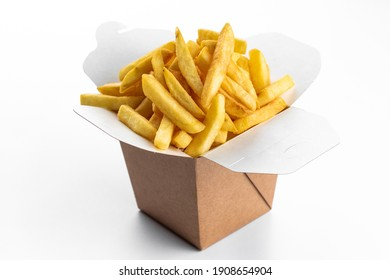 deep-fried potatoes in a paper box . on a white isolated background