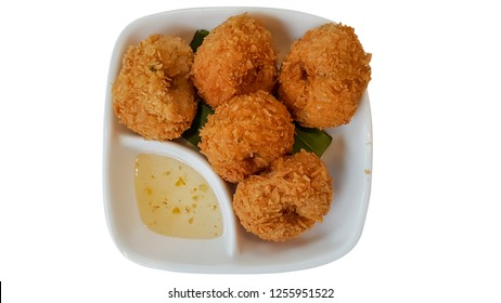 Deep-Fried shrimp cakes on isolate white background with clipping path.