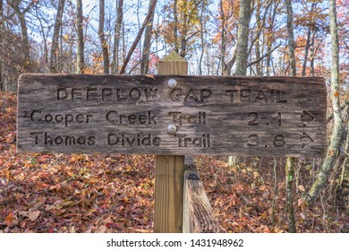 Deeplow Gap Trail Sign in Smoky Mountains in fall
