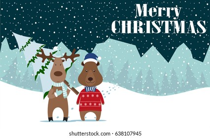 Deer and Bear Merry Christmas and Happy New Year!