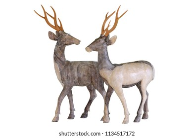 deer carved wood isolated on white background