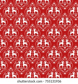 Deer Christmas pattern in red and white. Folk art inspiration, it is a repeat pattern with a holiday theme,