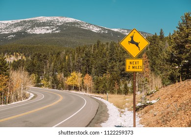 Deer crossing sign on highway at autumn sunny day in Colorado, USA.