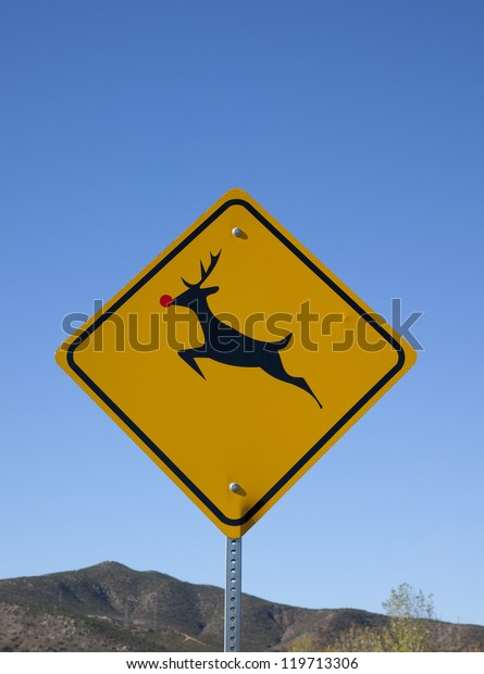 """Reindeer Crossing Road Sign Car Bumper Sticker Decal /'/'SIZES/"""""""