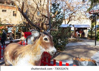 Deer decoration figurine at greek Christmas market in Drama, Greece
