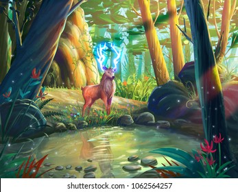 The Deer in the Forest with Fantastic, Realistic and Futuristic Style. Video Game's Digital CG Artwork, Concept Illustration, Realistic Cartoon Style Scene Design