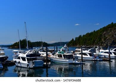 Deer Harbor, Washington - July 29, 2019 - Harbor and marina in Deer Harbor, Washington on Orcas Island