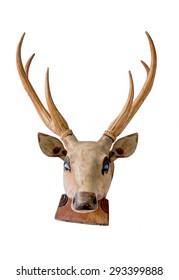 Deer head wooden craft isolated on white background.