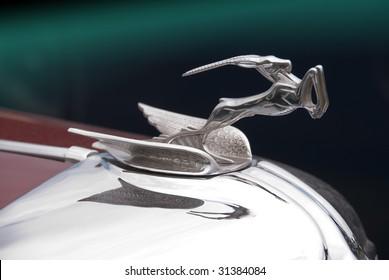 Deer hood ornament on vintage 1930ies classic american car