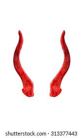 Deer horns isolated on the white background.Used color tool for red tone,Create for devil horn.