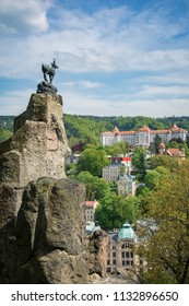 The Deer Jump and Karlovy Vary town view taken from hill near the town, Karlovy Vary, Czech Republic, May 2nd 2018