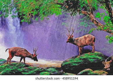 A deer in nature with waterfall background, oil paint + filter burlap  style