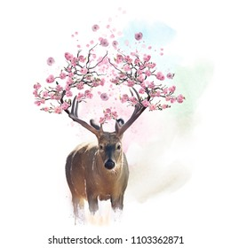Deer portrait with flowering branches on the horns.Watercolor painting