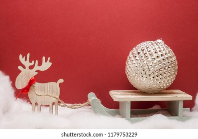 deer with sledges moving christmas tree toy