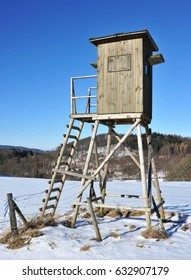 Deer Stand in Forest of Odes in Winter, Hesse, South Germany