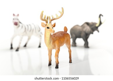 Deer toy in white background