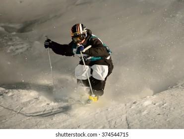 DEER VALLEY, UT - FEB 05: Pavel Kolmakov at the VISA FREESTYLE SKI World Cup in Deer Valley, UT on February 06, 2016