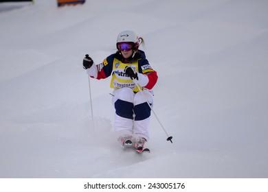 DEER VALLEY, UT - January 09:  Hannah Kearney at the FIS VISA FREESTYLE World Cup Moguls Women in Deer Valley, UT on January 09, 2015