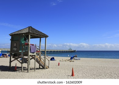 DEERFIELD BEACH, FLORIDA - FEBRUARY 1: Ocean Rescue has one Captain, a couple of Lieutenants, 20 part time lifeguards and thirteen full time guards on February 1, 2013 in Deerfield Beach, Florida.
