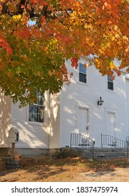 Deerng Congregational Church in Deering New Hampshire, surrounded by fall foliage