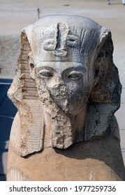 Defaced statue of a Pharaoh, Karnak temple complex Luxor Egypt