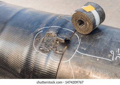 Defect at coating polymeric of pipeline.repairing coating polymeric insulation of pipeline.pipes with polymeric insulation is designed for installation underground construction of the pipeline