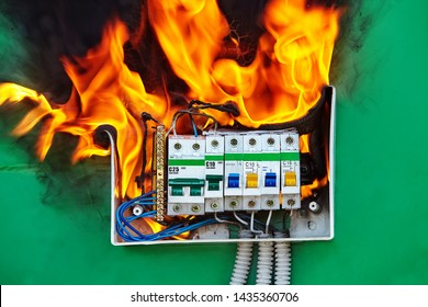Defect of electrical distribution panel with circuit breaker is the cause of a fire in the apartment. Electrical failures and malfunctions are a factor in the Ignition of fires at home.