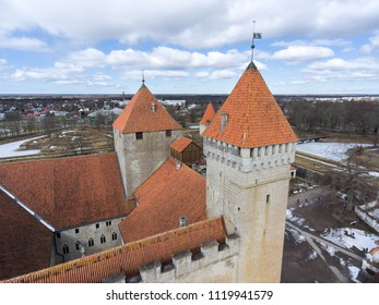 Defence towers of Kuressaare Fortress with weather vane. Spring. Medieval fortification in Saaremaa island, Estonia, Europe