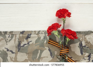 Defender of the Fatherland Day. Red carnations with st george ribbons on the khaki background.