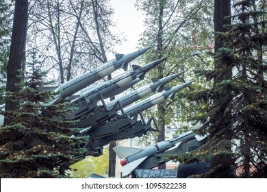 Defense forces weapon. antiaircraft missles rockets with warhead aimed to the sky. Weapons of mass destruction. Missiles with warheads, stand in a row, ready to launch.