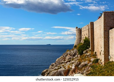 Defense wall of Old town of Dubrovnik in Croatia with beautiful view of Adriatic sea