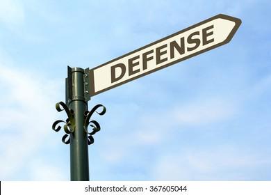 DEFENSE WORD ON ROADSIGN