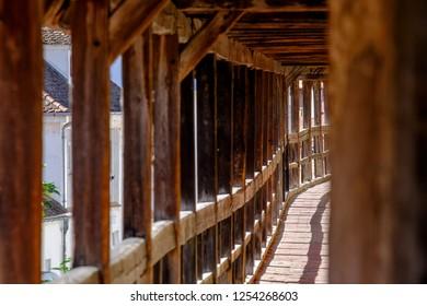 Defensive corridor in the historic town Noerdlingen in Germany