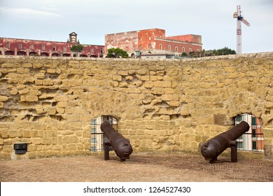 Defensive Fortifications and old guns of the medieval castle Castel dell'Ovo. The castle is the oldest standing fortification in Naples. Italy.