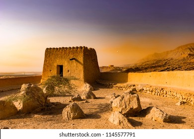 Defensive Fortress in the Desert. Dhayah Fort - Historic landmark. Ras Al Khaimah, UAE, Jun.2018