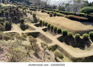 Defensive moats at Yamanaka Castle Ruins Park in Mishima city, Shizuoka prefecture, Japan