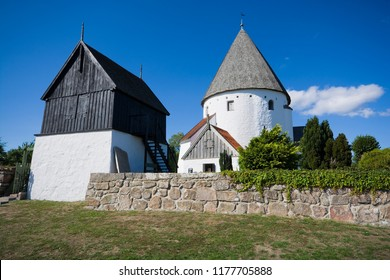 Defensive round church in Olsker, Bornholm, Denmark. It is one of four round churches on the Bornholm island. Built about 1150, 26 meter high, considered the most elegant round church.