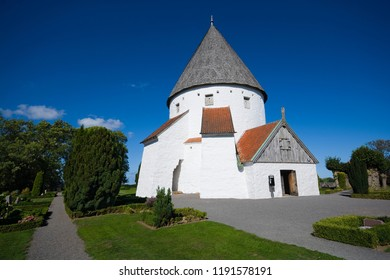 Defensive round church in Olsker, Bornholm, Denmark. It is one of four round churches on the Bornholm island. Built about 1150, 26 meter high, considered the most elegant round church