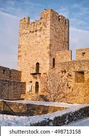 Defensive tower in Belgrade Kalemegdan park, on a snowy day