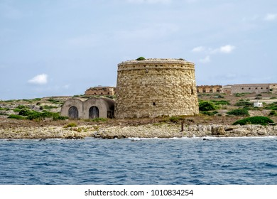 Defensive tower San Felipet, of the Island of Lazareto In Menorca, Spain