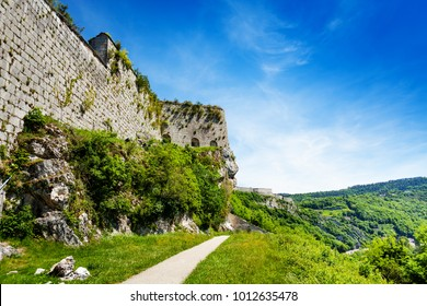 Defensive wall of citadel in Besancon, France